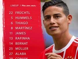 James Rodríguez dans le onze de départ du Bayern. FCBayern
