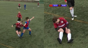 She dislocated her knee. Screenshot/InvernessCaledonianThistle