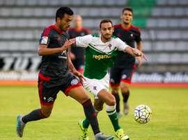 Jaume Vidal, nuevo jugador de la Pobla de Mafumet, en un partido cuando militaba en el Racing de Ferrol. Twitter
