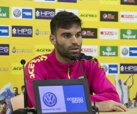 Javi Garrido, durante una rueda de prensa. UDLasPalmas