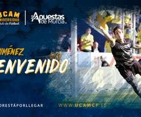Javi Jiménez, nuevo jugador del UCAM Murcia. Twitter/UCAMMurciaCF