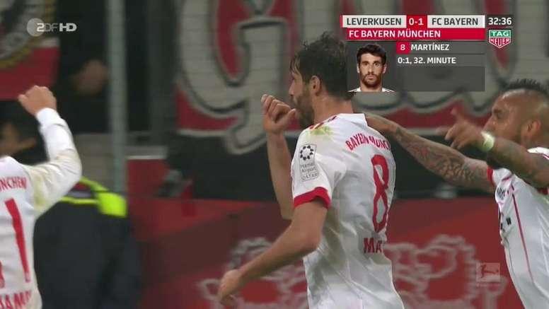 Javi Martínez a ouvert le score face au Bayer Leverkusen. Captura/2DFHD