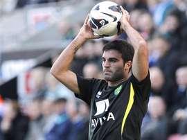 Javier Garrido, durante un partido con el Norwich. Canaries