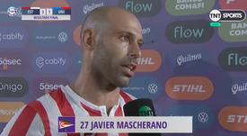 Mascherano analizó la llegada de Rojo. Captura/TNTSports
