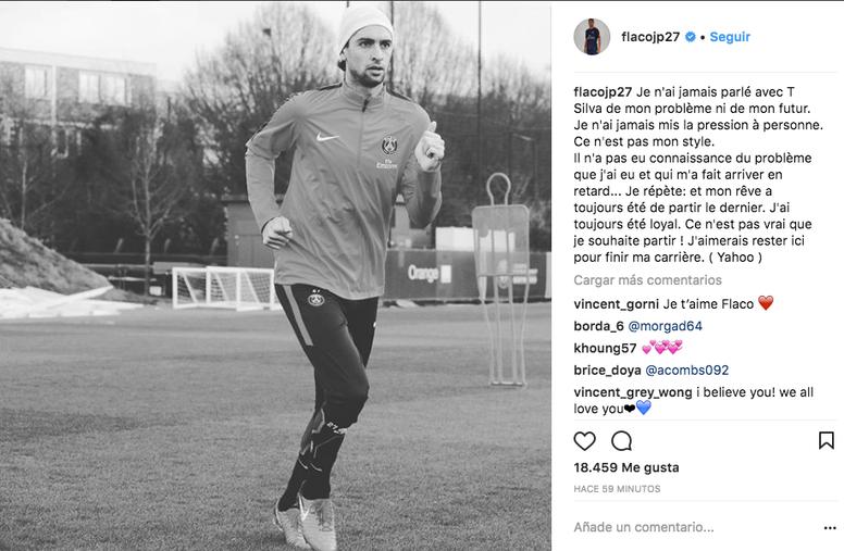 Javier Pastore respondió a Thiago Silva a través de Instagram el 11 de enero de 2018. Instagram/Pastore