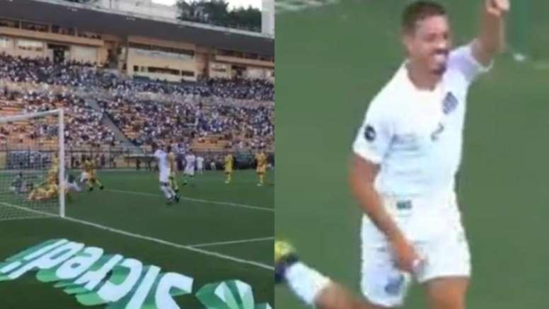 Logró la victoria en el último suspiro. Captura/SantosFC