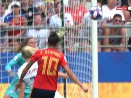 Les USA encaissent leur premier but sur un 'golazo' de Jenni Hermoso. Capture/GOL