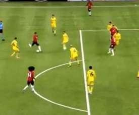 Capitaine Lingard montre la voie à United face à Astana. Capture/Movistar