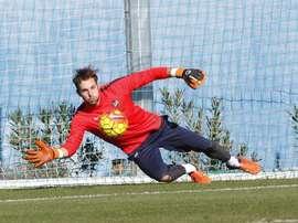 Jesús Fernández, durante un entrenamiento del Levante. Twitter