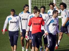 Jesús Fernández, en un entrenamiento con el Real Madrid. JesúsFernández