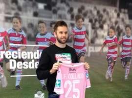Jesús Fernández posa con la camiseta del Granada. Twitter