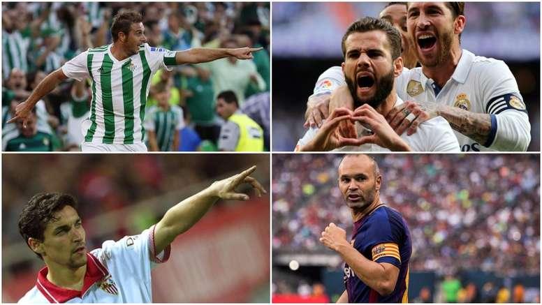 Jesús Navas, Joaquín, Nacho e Iniesta son los veteranos de sus equipos esta temporada 17-18. BeSocce