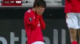 João Félix chorou depois do seu hat-trick na Europa. Captura+Movistar+