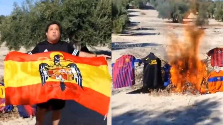 El político quemó sus camisetas del Barcelona. Capturas/Facebook