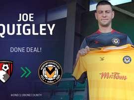 Joe Quigley es el nuevo refuerzo del Newport County. Twitter/NewportCounty