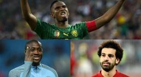 Jogadores africanos que mais vezes venceram o prêmio da CAF. EFE/AFP