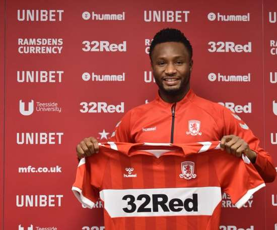 Obi Mikel rejoint Middlesbrough. Twiter/Boro