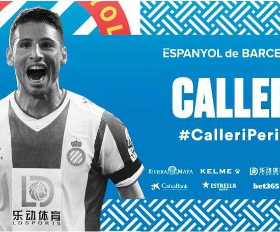 Calleri, séptima incorporación del Espanyol este verano. Twitter/RCDEspanyol