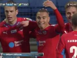 Jordan Larsson celebra su golazo ante el AIK. Twitter