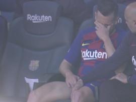 Jordi Alba se lesiona a não contém as lágrimas. Captura/MovistarLaLiga
