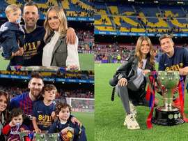 Le coppie che festeggiano sul terreno del Camp Nou. Instagram