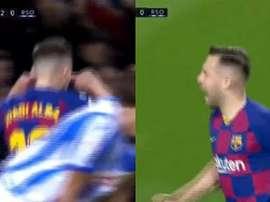Jordi Alba reclamou das vaias. Capturas/Movistar