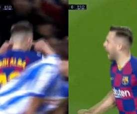 Jordi Alba se bouche les oreilles. Captures/Movistar