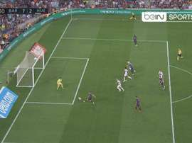Jordi Alba a marqué son but. Twitter/beINSPORTSes