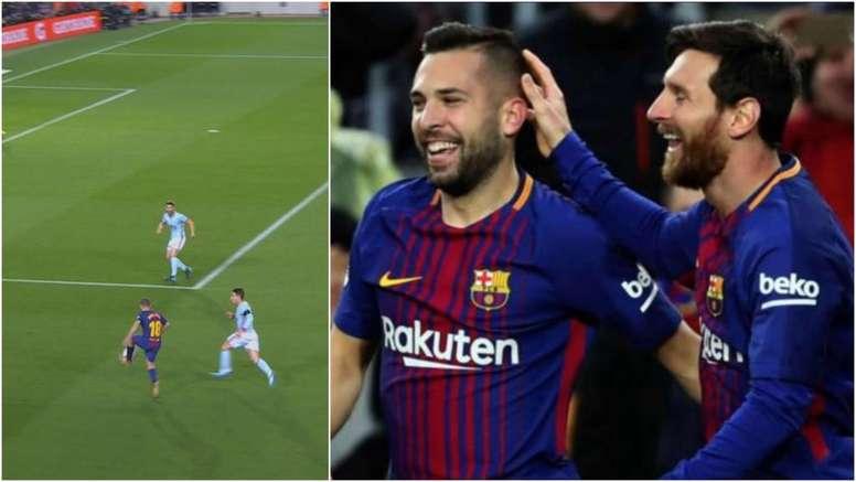 Jordi Alba y Messi, protagonistas de los dos primeros goles en la vuelta copera ante el Celta. BeSoc