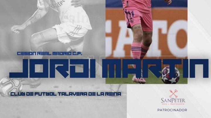 El madridista Jordi Martín jugará en la Primera RFEF. Twitter/CFTalavera_