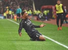 Jordon Ibe celebra su gol, el que dio la victoria al Liverpool ante el Stoke City en la ida de las semifinales de la Capital One Cup. Twitter