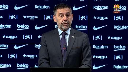 Bartomeu fala em coletiva de imprensa. Captura/BarçaTV