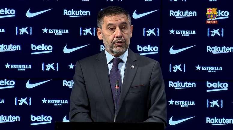 Bartomeu en conférence de presse.  Captura/BarçaTV
