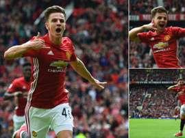 Josh Harrop, juvenil del Manchester United, en su debut con los 'red devils' ante el Crystal Palace.