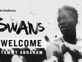 Tammy Abraham volta a ser emprestado, desta feita aos 'swans'. Twitter/Swansea City