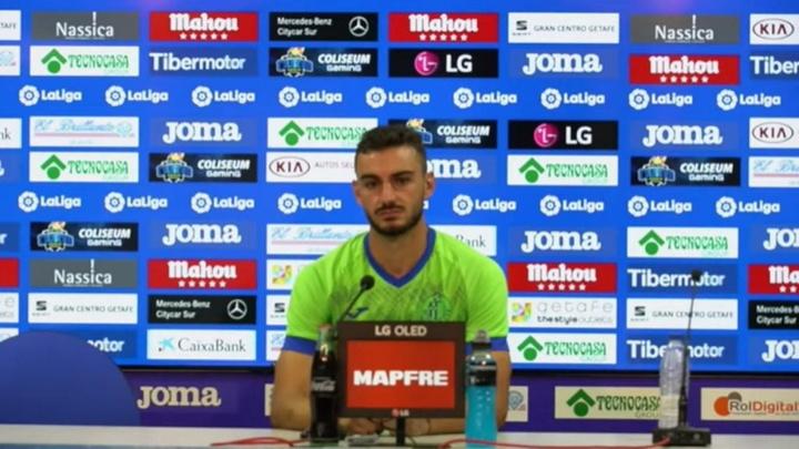 Juan Iglesias habló en rueda de prensa. Captura/Youtube/GetafeCF