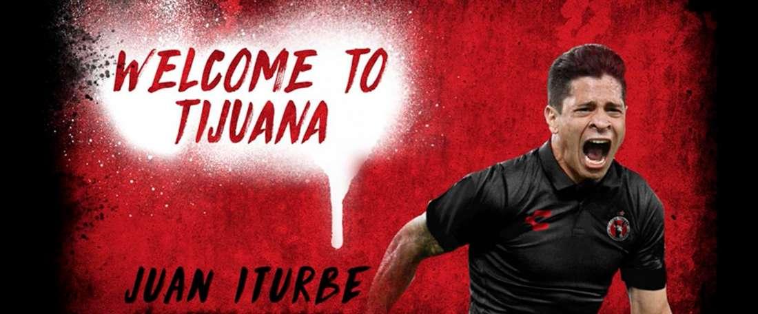 Iturbe, o novo jogador do Club Tijuana. Twitter/Xolos