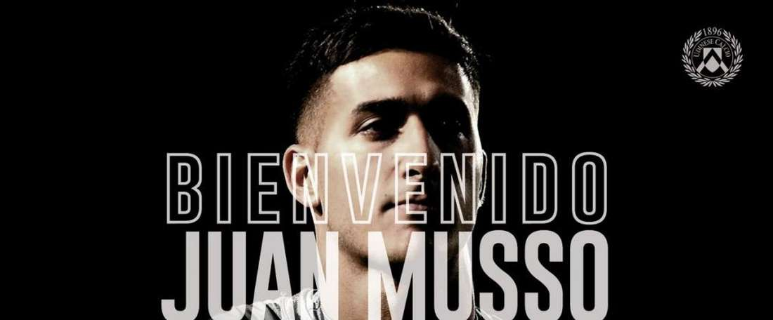 Juan Musso. Twitter/Udinese