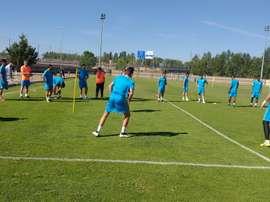 Jugadores de la Cultural Leonesa, durante un entrenamiento. CyDLeonesa