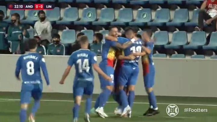 El Andorra se impuso en la primera jornada ante el Linares. Captura/Footters