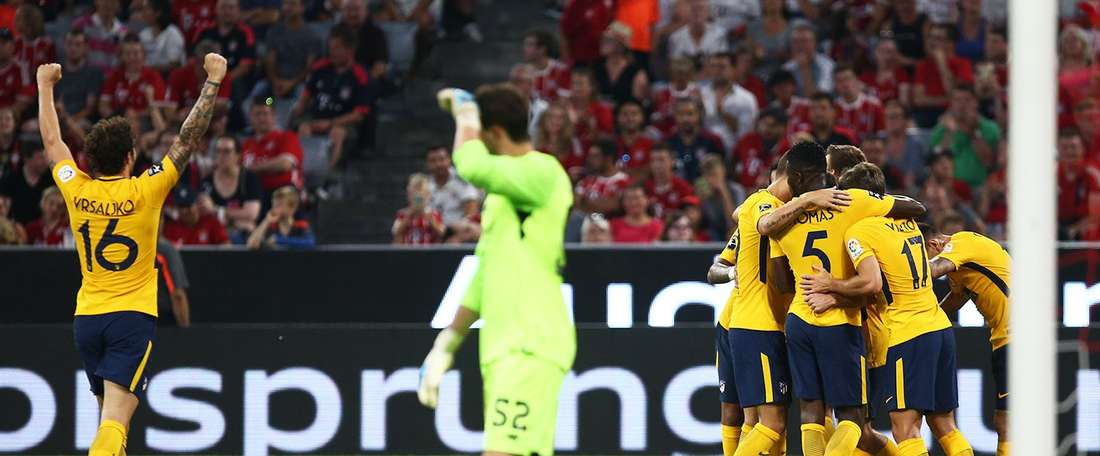 Atletico celebrate their win over Liverpool in the Audi Cup final. AtléticodeMadrid