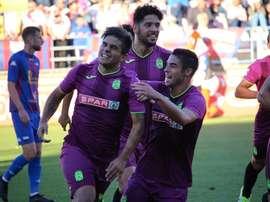 El Cartagena logró la victoria por la mínima ante el Lorca Deportiva. Twitter/FCCartagena