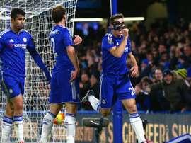 Jugadores del Chelsea, durante el partido contra el West Bromwich. Twitter