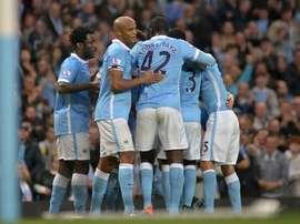 Jugadores del City, celebrando un gol anotado al Norwich City. Twitter
