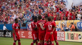 Jugadores del FC Dallas, celebrando un gol. FCDallas