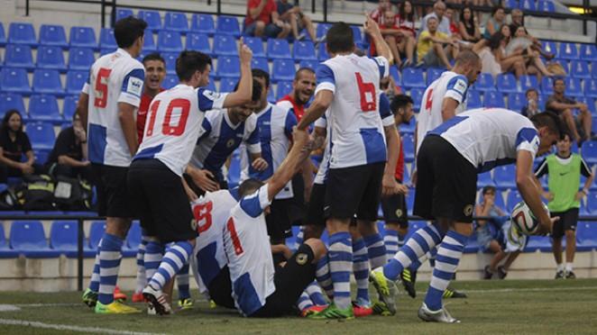Jugadores del Hércules celebran un gol. HerculesCF
