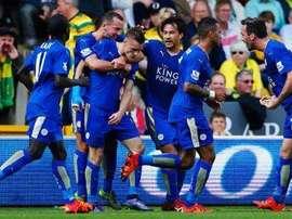 Jugadores del Leicester City en el partido ante el Norwich. Twitter.