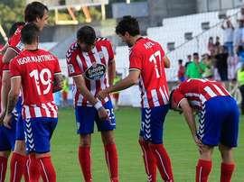 Jugadores del Lugo en el partido ante el Mirandés. Twitter.