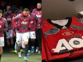 United com dragões na camisa pelo ano novo chinês. Twitter/ManUtd