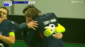 La victoria del Midtjylland fue extraordinaria. Captura/TBSport2